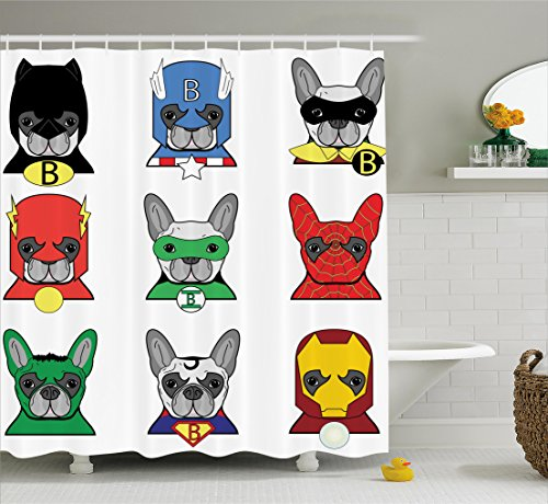 Ambesonne Superhero Shower Curtain Set, Bulldog Superheroes Fun Cartoon Puppies in Disguise Costume Dogs with Masks Artprint, Fabric Bathroom Decor with Hooks, 84 Inches Extra Long, White Green -