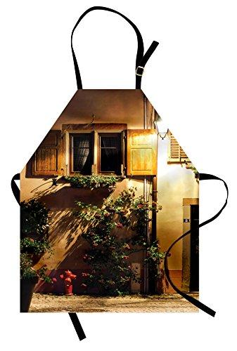 Lunarable Wanderlust Apron, Alsacien Village Street View France Summer Countryside Lantern Shadows, Unisex Kitchen Bib Apron with Adjustable Neck for Cooking Baking Gardening, Pale Brown (Le Costume Alsacien)