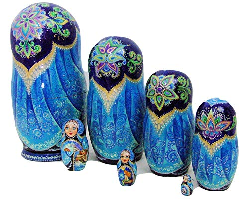 7pcs Hand Painted Russian Nesting Doll 'Mermaids by Ilyukova by Olga's Russian Collectibles (Image #2)