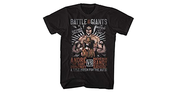 Andre the Giant v Macho Man Randy Savage Men/'s T Shirt Title Match Wrestling Top
