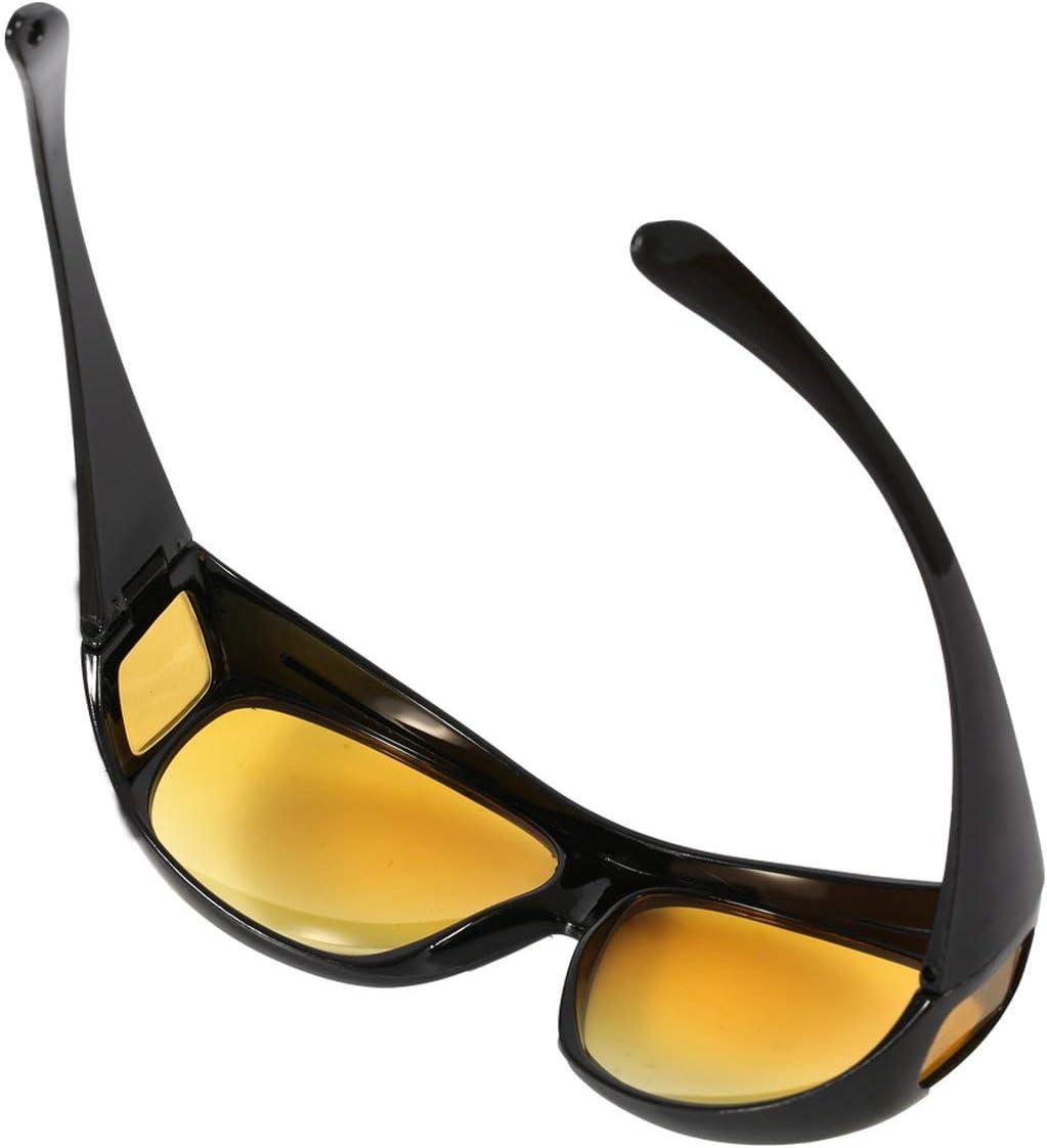 Lunettes de Soleil de Vision Nocturne Lunettes de Conduite Night Sight HD Anti-Reflets Protection UV400 Lunettes de Nuit pour conducteur Jaune