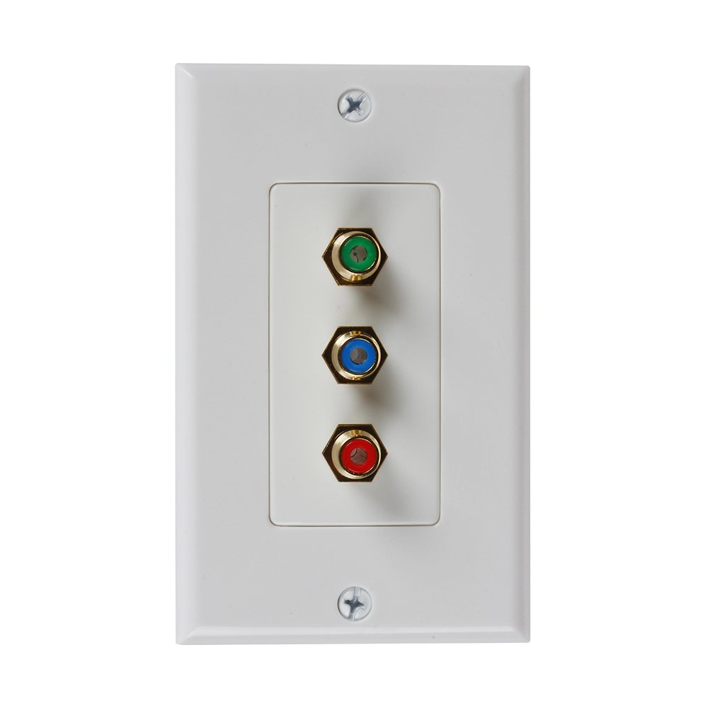 TNP 3RCA Wall Plate - Gold Plated RCA (RGB) Component Video 1080P Full HD Compatible Port / AV Composite Video + 2RCA Stereo Audio Combo Port Insert Jack Socket Wiring Plug Outlet Cover Panel Mount TNP Products WP_3RCA_CMP