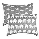 IBraFashion Toddler Pillowcases 2 Packs 14x19 for 13x18, 12x16 Pillow 100% Cotton Grey Elephants and Rainy Clouds Set of 2
