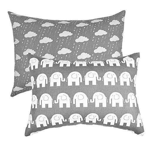 IBraFashion Toddler Pillowcases 2 Packs 14x19 for 13x18, 12x16 Pillow 100% Cotton Grey Elephants and Rainy Clouds Set of 2 by IBraFashion