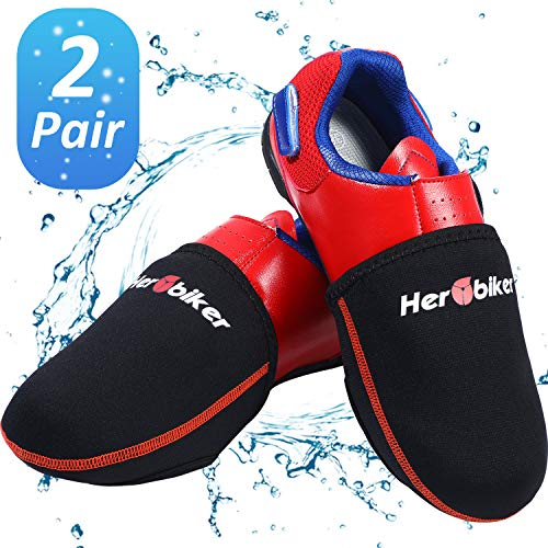 2 Pairs Cycling Shoe Cover Bike Shoe Toe Covers Thermal Neoprene Cycle Toe Cover in Windproof Waterproof Design