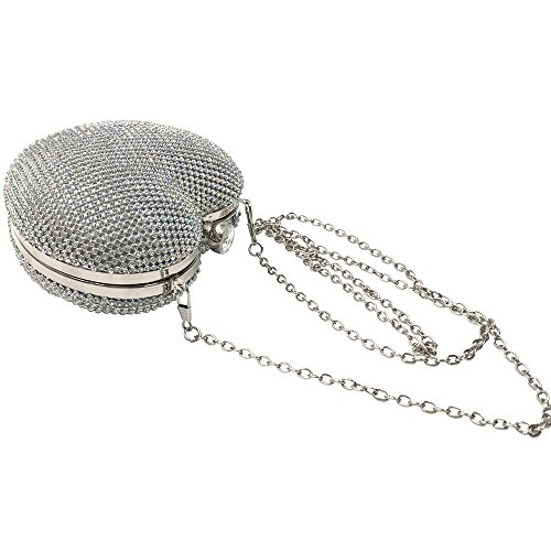 Silver Evening Clutch Wedding Abbie Home Heart Bridal Crystal Shaped Bag Party ZxggtOqwB