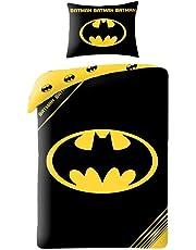 BATMAN Parure de lit Reversible 100% Coton - Housse de couette 140x200 cm + Taie d'oreiller 70x90 cm