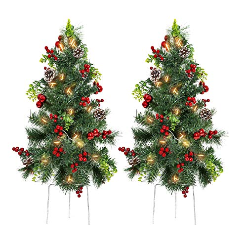 Best Choice Products Set of 2 24.5in Outdoor Battery Operated Pre-Lit Pathway Christmas Trees Holiday Décor for Driveway, Yard, Garden w/LED Lights, Red Berries, Frosted Pine Cones, Red Ornaments