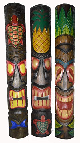 40 In Set of 3 Tribal Polynesian Tiki Bar Turtle Pineapple Design Masks Hand Carved Island tropical Decor -