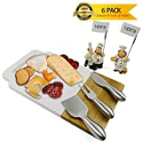 Marble and Acacia Wooden Serving Cheese Board with Cutlery Knife Set, Wood Charcuterie Platter and Serving Tray for Wine, Crackers, Brie and Meat, Large & Thick, Perfect Gift Idea, by upra (#2)