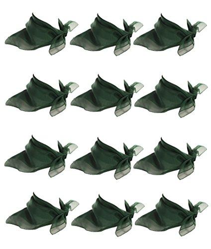 Dance Team Costume Resale (12 Hunter Green Scarves - Sheer Chiffon Square Scarf Dozen Lot - 50s Retro Style)