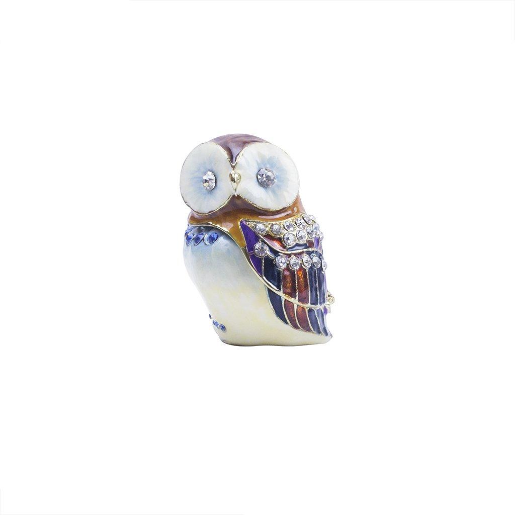 SC208-K1-Large Products-Group Inc 2.5 Pill Box Sparkling Collectibles Pewter Barn Owl Figurine Box Keepsake Swarovski Crystals Trinket White, 2.5