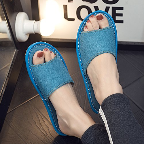 slip slippers and summer slippers floor home fankou sweat men anti Ladies with sky interior blue cool 39 Home linen 40 thick xYYOvUqw