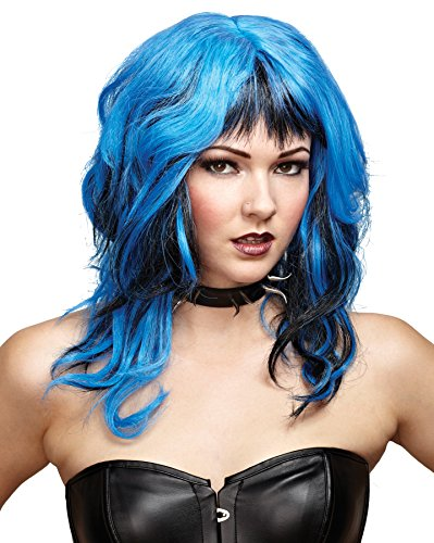 UHC Sexy Rockin Witch Shag Wig w/ Long Bangs Halloween Costume Accessory (BLUE/BLK)