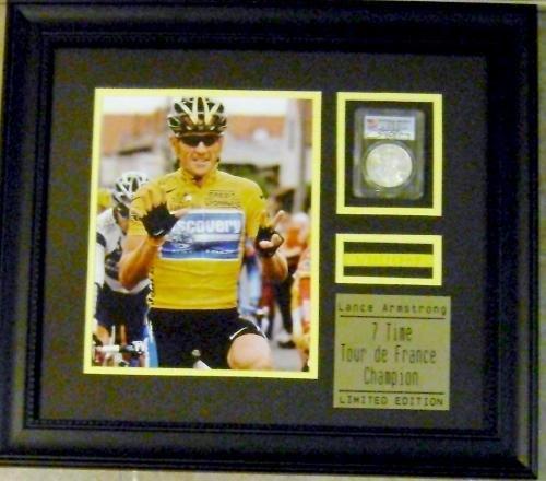 Lance Armstrong autographed coin framed with photo & bracelet (Tour De France Champion) 12x14