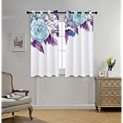 iPrint Stylish Window Curtains,Floral,Vintage Classic Flower Petals Bridal Wedding Romance Shabby Chic Design Art,Light Blue Purple,2 Panel Set Window Drapes,for Living Room Bedroom Kitchen Cafe