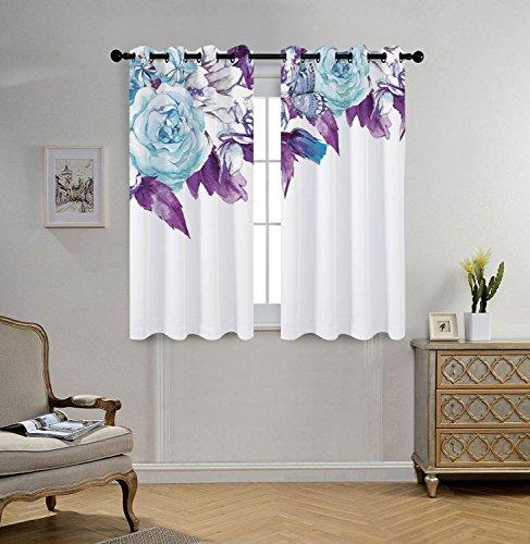 iPrint Stylish Window Curtains,Floral,Vintage Classic Flower Petals Bridal Wedding Romance Shabby Chic Design Art,Light Blue Purple,2 Panel Set Window Drapes,for Living Room Bedroom Kitchen Cafe