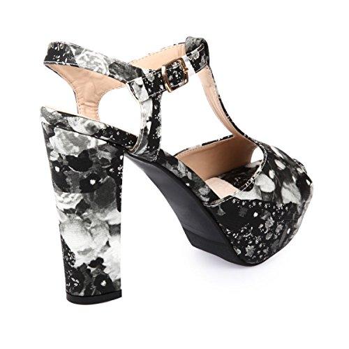Sandales peep La toes à à floral Noir motifs Modeuse talons a5qHAHgw