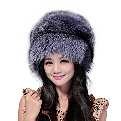 Fur Story 13609 Women's Real Fox Fur or Raccoon Fur Beanie Hat Silver Fox2 by Furstory