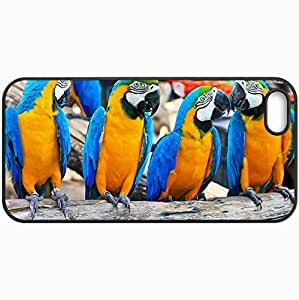 Customized Cellphone Case Back Cover For iPhone 5 5S, Protective Hardshell Case Personalized Blue And Yellow Macaws 19819 Black