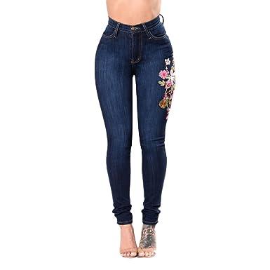 76bc2d05cdcb Youthny Pantalon à Trous en Denim Élastique à Taille Haute Brodé pour Femmes