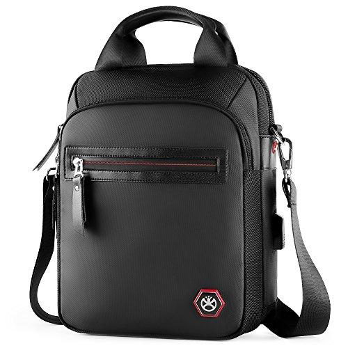 Nylon Crossbody Sling Bag Messenger Satchel Shoulder Briefcase Handbag Multi-Functional Large Capacity with USB Charging Port Vertical Style