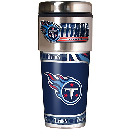 NFL Tennessee Titans Metallic Travel Tumbler, Stainless Steel and Black Vinyl, 16-Ounce