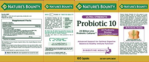Nature S Bounty Ultra Probiotic 10 60 Capsules Dietary
