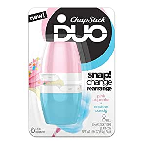 ChapStick DUO Full Lip Balm, 8 Hour Moisture, 0.194 Ounce Each (Pink Cupcake & Cotton Candy Flavors, 1 Blister Pack of 2 Pieces)