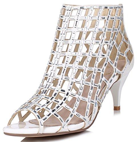 LizForm Women Cutout Sandal Boots Open Toe Stiletto Sandals Back Zipper Dress Shoes High Heels Boots White2 10