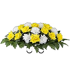 Yellow Rose and White Mum Artificial Saddle Arrangement (SD2158) 52