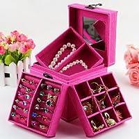KLOUD City® Hot Pink three-layer lint jewelry box organizer display storage case with mirror