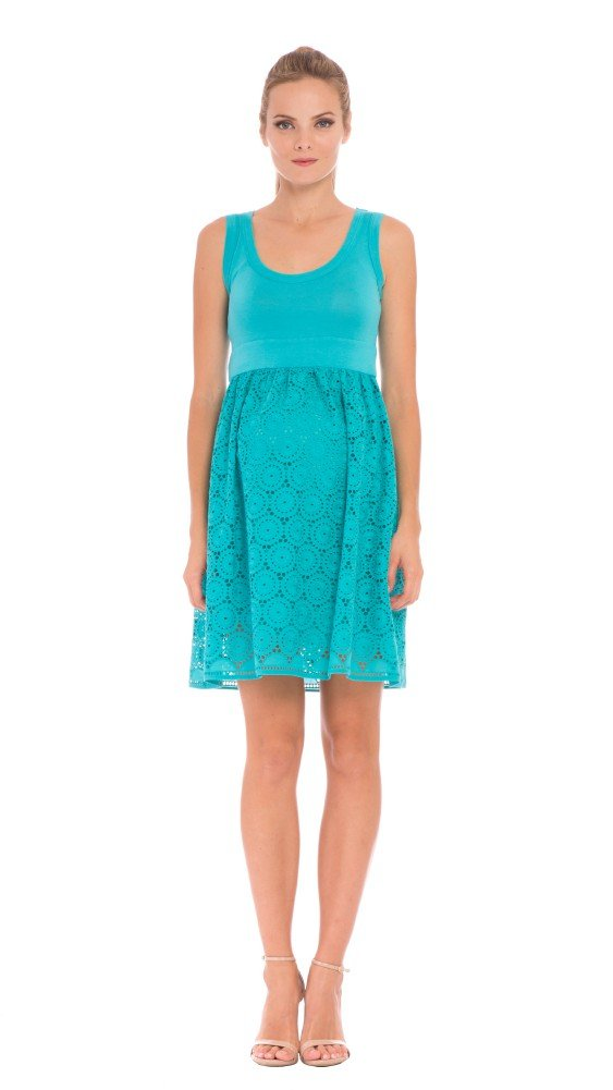 Olian Tank Style Baby Doll Eyelet Dress (Medium, Aqua) by Olian