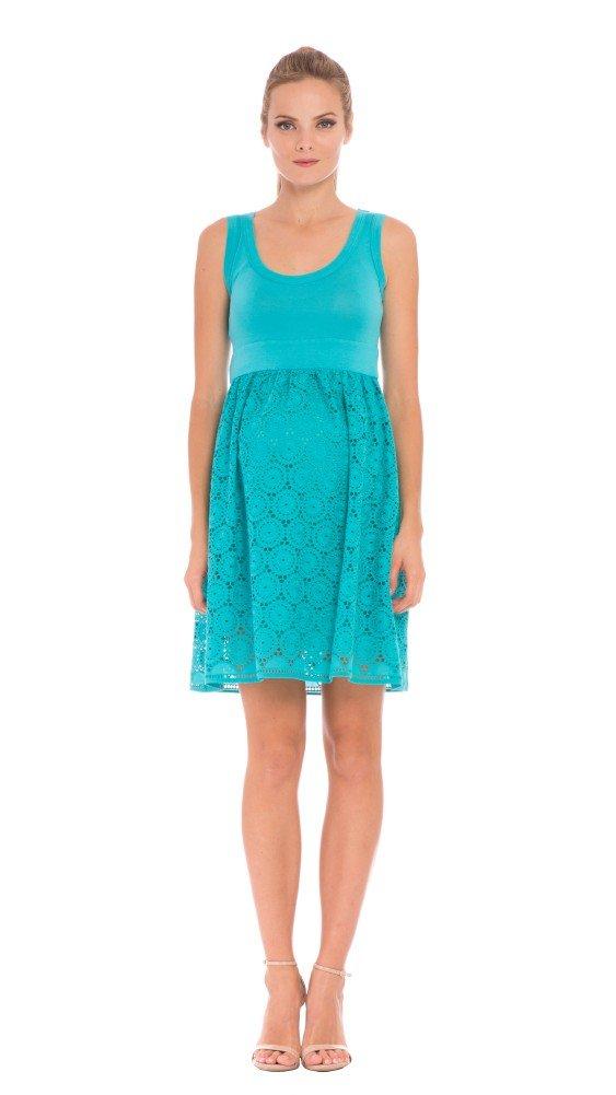 Olian Tank Style Baby Doll Eyelet Dress (Medium, Aqua)