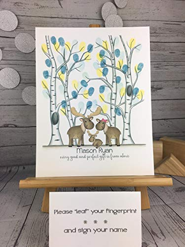 Customizable woodland animal fingerprint tree featuring a moose family and a birch tree forest for a boy's woodland animal themed baby -