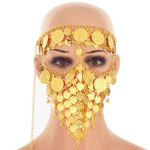 ZYZF Belly Dance Tribal Egyptian Halloween Costume Headwear Coins Face Mask Veil Tribal Bedouin Burka Burqa Metal Head Chain (Gold) -