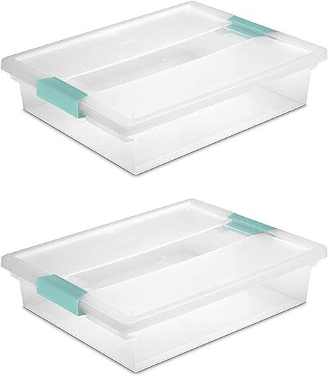 STERILITE 19638606 Large Clip Box, Clear with Blue Aquarium Latches 2 pieces (Large)