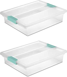 product image for STERILITE 19638606 Large Clip Box, Clear with Blue Aquarium Latches 2 pieces (Large)