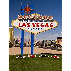 Leowefowa 5X7FT Welcome to Las Vegas Backdrop Vinyl Photography Background Grass Field Modern Building House Blue Sky White Cloud City Street Nature Outdoor Travel 1.5(W) X2.2(H) M Photo Studio Props
