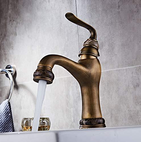 ROKTONG Faucet Head-Mounted Wash Basin Faucet European Antique Hotel Basin Faucet Copper Bathroom Faucet