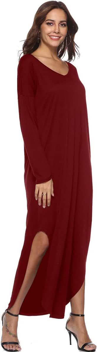 Buankoxy Women's Casual Loose Dress Sleeveless Strappy Cami Plain Flowy Pockets Beach Cami Maxi Dress