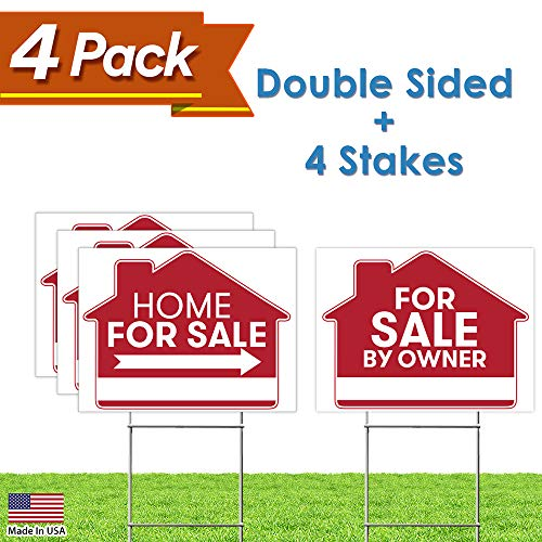 For Sale By Owner Sign   4 Premium Yard Signs Bulk Pack   18  X 24  Inches   Large Directional Arrows   Double Sided Real Estate Sale Stand Post With H Wire Stakes   Realtor Agents Supplies  Red