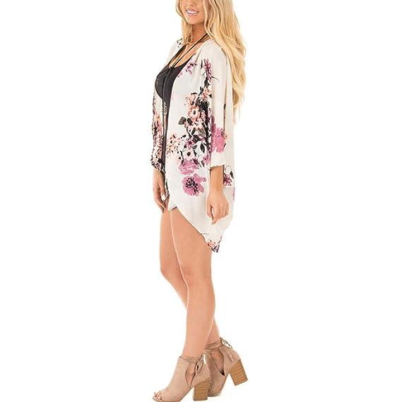 DEELIN Mujer Floral Print Chiffon Boho Style Kimono Cool Oversized Cardigan (S, Blanco)