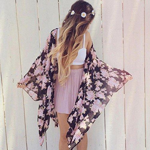 Chandail Couvrez Manteau S Transer Boho 4 soie Blouse de XL 3 manches Kimono Chale Cardigan Manteaux mousseline lache en Femme vous Imprimer Marine Shirt Femmes qxnqTwaUg