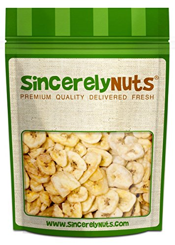 Sincerely Nuts Banana Chips Unsweetened - One Lb. Bag -Original Fruity Sweetness - Insanely Delicious - Highly Nutritious - Perfect Freshness - Kosher Certified