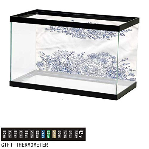 bybyhome Fish Tank Backdrop Blue,Bridal Bouquet Carnations,Aquarium Background,30
