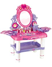 Dimple Vanity Set Girls Toy Makeup Accessories with Working Piano & Flashing Lights, Big Mirror, Cosmetics, Working Hair Dryer - Glowing Princess Will Appear When Pressing The Mirror-Button