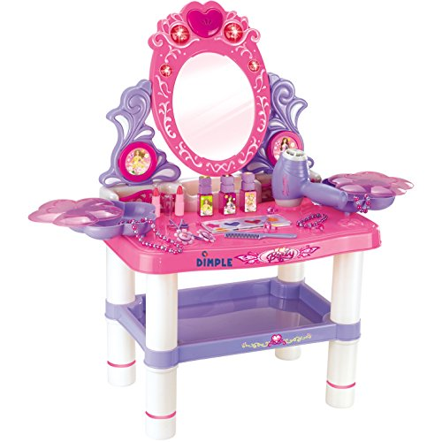 Dimple DC13988 Princess Themed Vanity Girls Set with 16 Fashion and Makeup Accessories, Flashing Lights