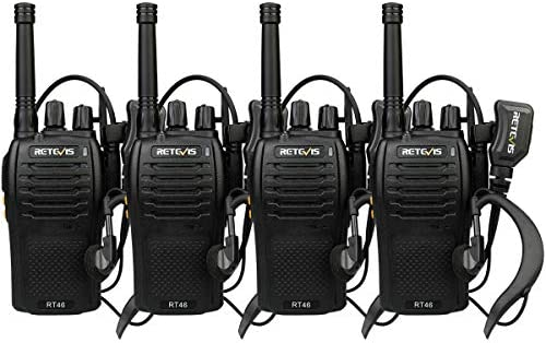 Retevis RT46 Rechargeable Walkie Talkies Dual Power FRS SOS Emergency Alarm Hands-Free Two-Way Radios with Earpiece 4 Pack