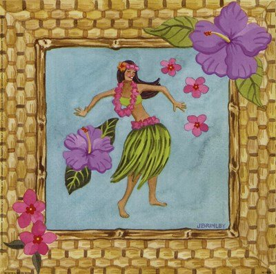 Tiki Girl III by Jennifer Brinley - 9x9 Inches - Art Print Poster